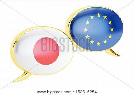 Speech bubbles EU-Japan conversation concept. 3D rendering isolated on white background