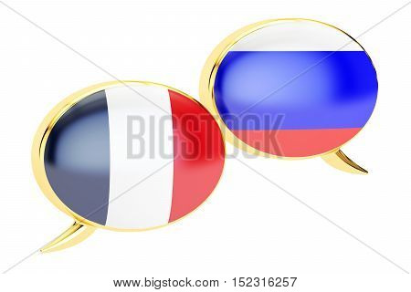 Speech bubbles French-Russian conversation concept. 3D rendering