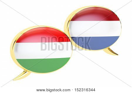 Speech bubbles Hungarian-Dutch conversation concept. 3D rendering isolated on white background