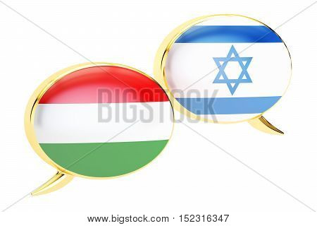 Speech bubbles Hungarian-Israeli conversation concept. 3D rendering