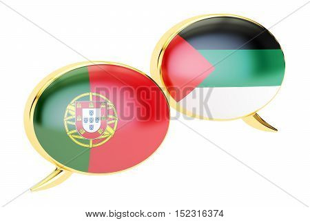 Speech bubbles Portuguese-Arab conversation concept. 3D rendering