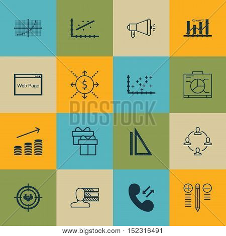 Set Of 16 Universal Editable Icons For Airport, Project Management And Statistics Topics. Includes I