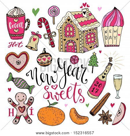 Vector New Year Sweets set. Christmas hand drawn bright collection with cocoa, gingerbread house and champagne