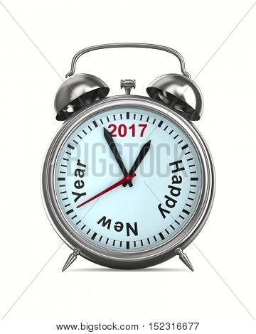 2017 year on alarm clock. Isolated 3D image