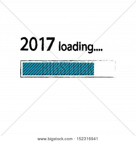 New year 2017 loading background, happy new year. Funny business concept: mail load. Green blue teal color. Space for your text