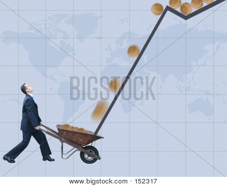 Business Man Collecting Coins - World Background