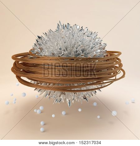 chroming sphere with random spikes wrapped with crimson ribbon levitates in the empty studio with shadow and round balls on the floor.Abstract background or wallpaper. Print Design. 3d illustration
