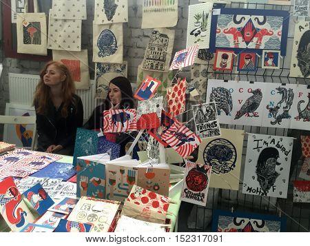KIEV, UKRAINE - APRIL 9, 2016: People on contemporary art print exhibition, Kiev, Ukraine.