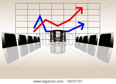 vector illustration of row of arm-chairs at a table in the hall of meetings