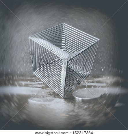 Chrome cube from rods standing standing on one corner in an urban environment with rust, reflecting puddles on the floor and a small levitating balls.Abstract background or wallpaper. 3d illustration