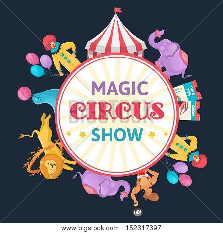 Circus show round composition with elephants lions and circus artists symbols and editable text flat vector illustration