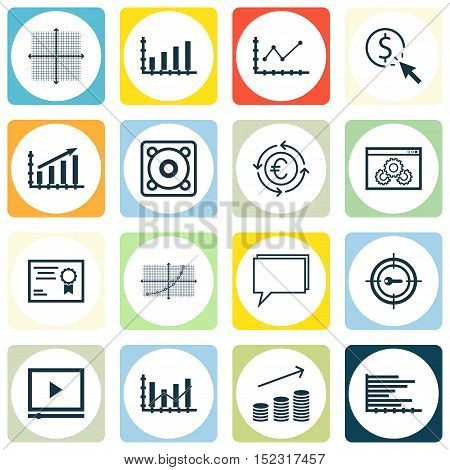 Set Of 16 Universal Editable Icons For Statistics, Advertising And Human Resources Topics. Includes