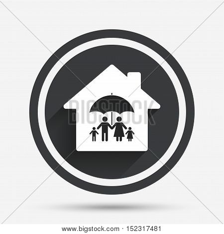 Complete family home insurance sign icon. Umbrella symbol. Circle flat button with shadow and border. Vector