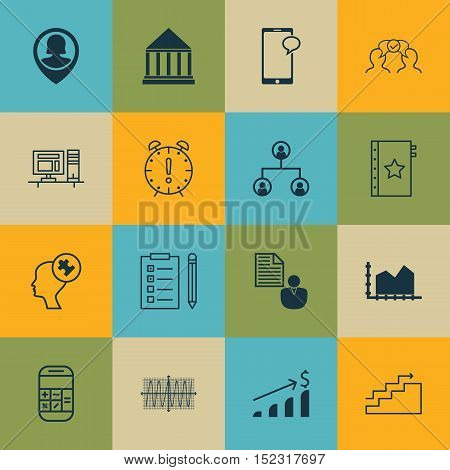 Set Of 16 Universal Editable Icons For Business Management, Project Management And Statistics Topics