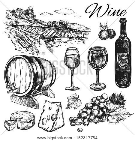 Black isolated wine vineyard icon set with bottle cheese wine barrels field vector illustration