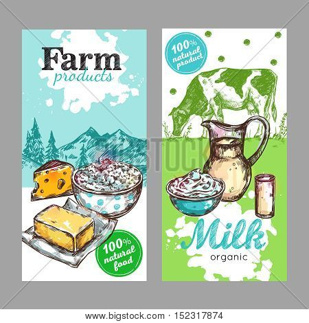 Two vertical farm products milk banner set with farm product and milk organic descriptions vector illustration
