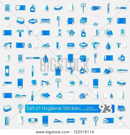hygiene vector sticker icons with shadow. Paper cut