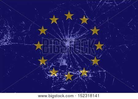 Shattered European Union flag cracked glass Brexit vector background