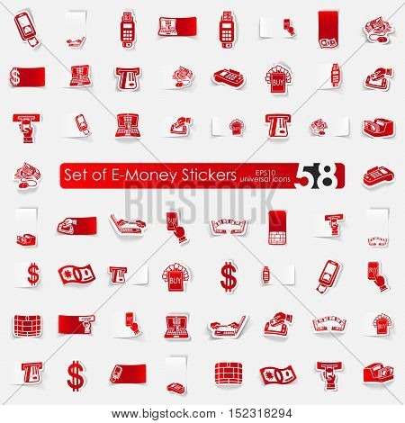 e-money vector sticker icons with shadow. Paper cut
