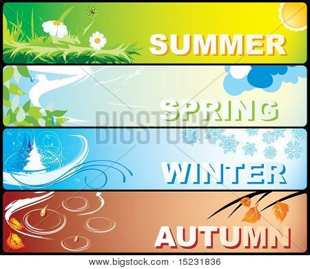 Four colourful banners on a theme of winter, spring, autumn and summer with the image of the nature