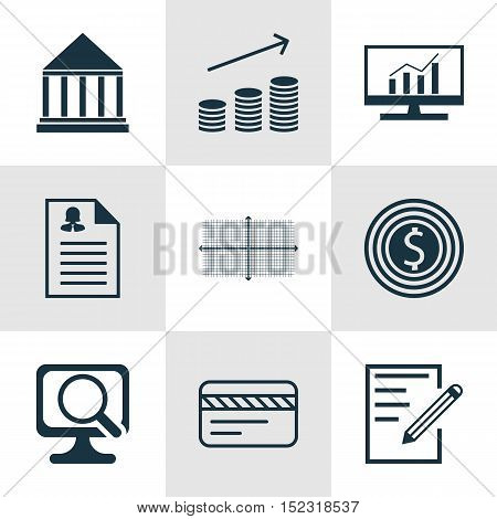 Set Of 9 Universal Editable Icons For Statistics, Advertising And Education Topics. Includes Icons S