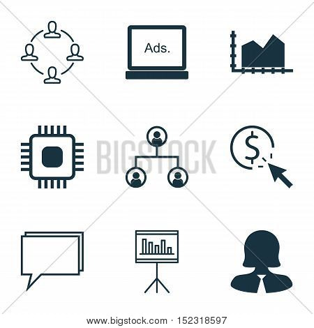 Set Of 9 Universal Editable Icons For Marketing, Computer Hardware And Statistics Topics. Includes I