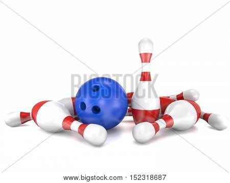 Skittles and bowling bal on white background are shown in image (3d rendering).