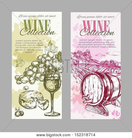 Two vertical wine vineyard label set with wine collection descriptions and two colors vector illustration