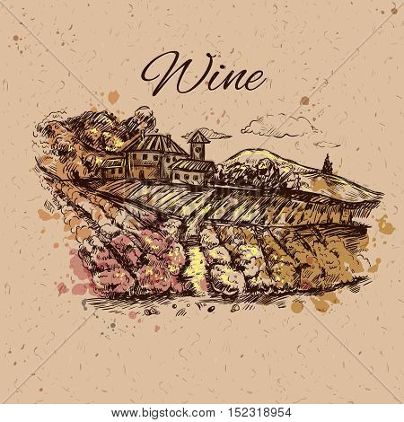 Hand drawn vineyard landscape composition field with growing grapes on beige background and headline wine vector illustration