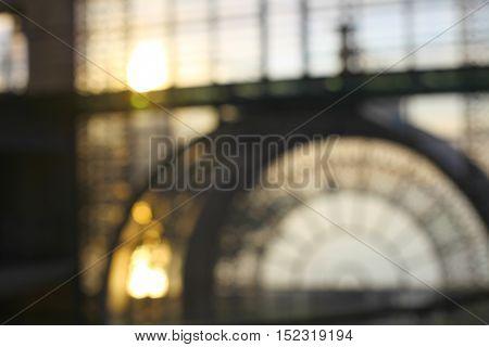 De focuses business center interior, window. Blur background.