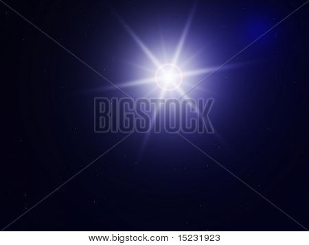 dark blue night sky shined by bright, white star