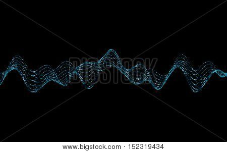 Abstract vector illustration of waves with particles on black background. Futuristic background with lines of many dots. Pattern design for poster, cover, banner, placard
