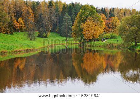 The picturesque Golden autumn in Pavlovsk Park suburban St. Petersburg