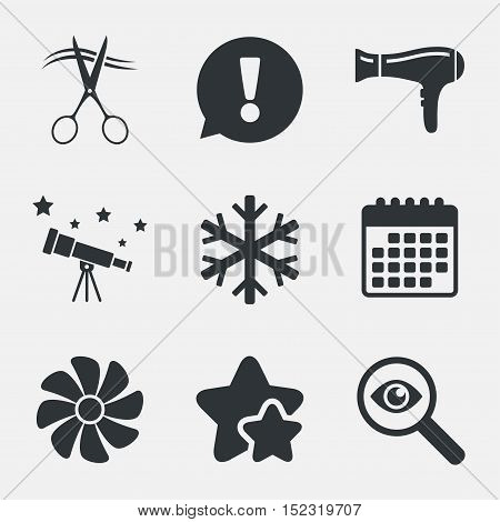 Hotel services icons. Air conditioning, Hairdryer and Ventilation in room signs. Climate control. Hairdresser or barbershop symbol. Attention, investigate and stars icons. Telescope and calendar signs
