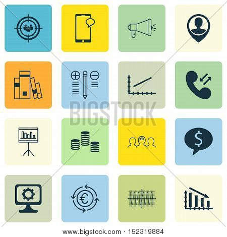 Set Of 16 Universal Editable Icons For Human Resources, Statistics And Education Topics. Includes Ic