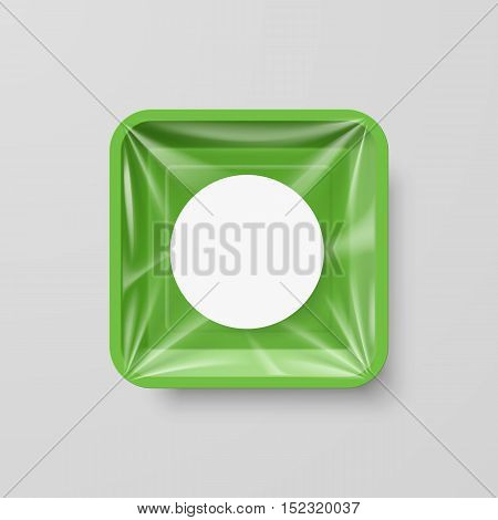 Empty Green Plastic Food Square Container with Round Label