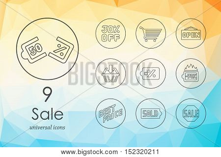 sale modern icons for mobile interface on blurred background