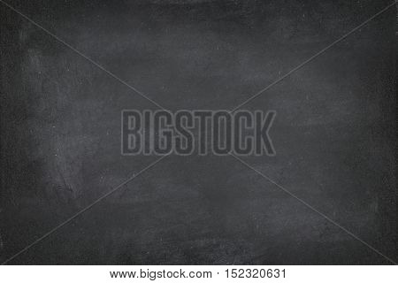Black Chalkboard blackboard chalk texture background. Black chalk board texture empty blank with writing chalk traces erased on the board. Copy space for text advertisement. School board display.