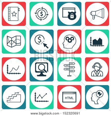 Set Of 16 Universal Editable Icons For Marketing, Project Management And Seo Topics. Includes Icons