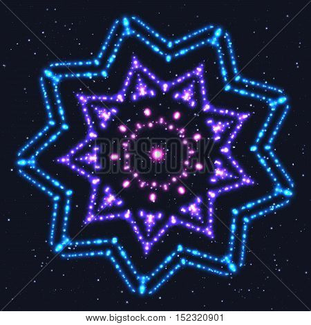 Glowing Blue Star. Design Element of Celebratory Decor.