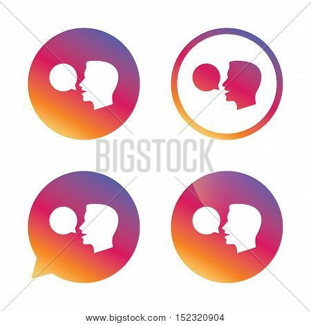 Talk or speak icon. Speech bubble symbol. Human talking sign. Gradient buttons with flat icon. Speech bubble sign. Vector
