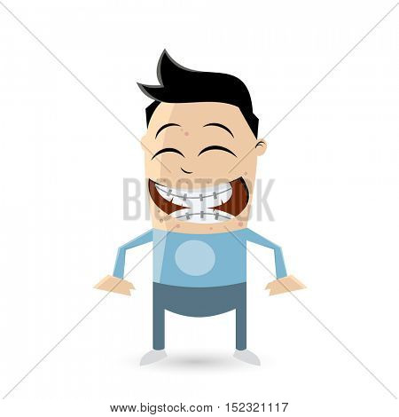 clipart of a funny teenager with acne and braces