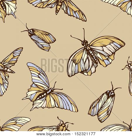 Vector seamless pattern with colorful butterflies . Stylish graphic texture. Repeating print in soft pastel colors background.