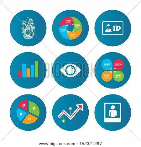 Business pie chart. Growth curve. Presentation buttons. Identity ID card badge icons. Eye and fingerprint symbols. Authentication signs. Photo frame with human person. Data analysis. Vector