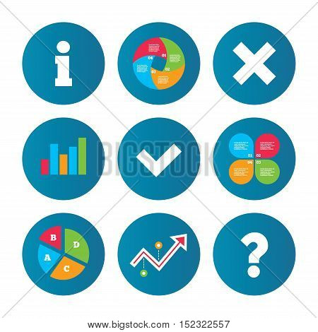 Business pie chart. Growth curve. Presentation buttons. Information icons. Delete and question FAQ mark signs. Approved check mark symbol. Data analysis. Vector