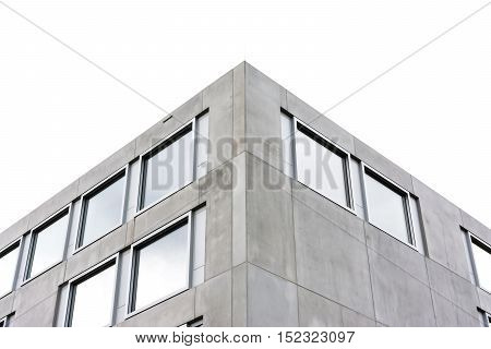 Symmetric Contemporary Architecture Concrete Square Geometric Building Office Corner Isolated White