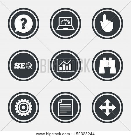 Internet, seo icons. Analysis chart, page and computer signs. Question speech bubble symbol. Circle flat buttons with icons and border. Vector
