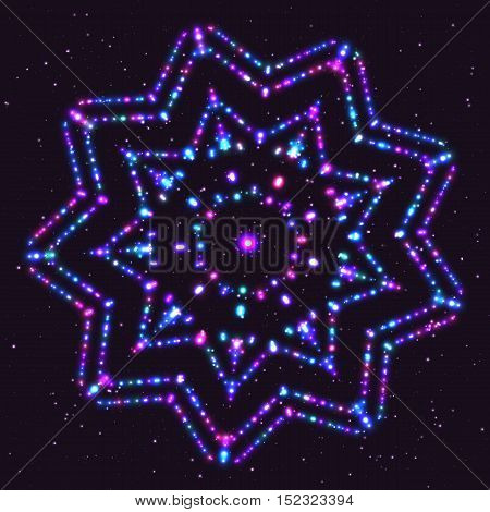 Bright Violet Fantasy Shimmering Magical Star of the Particles
