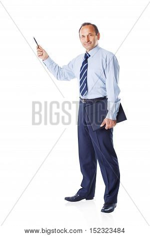 successful businessman pointing with pen on space for your labels