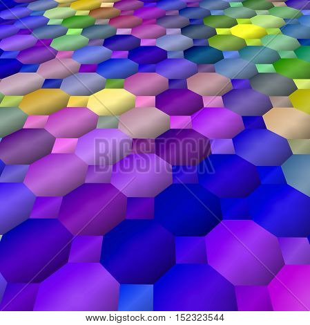 Abstract coloring background of the dark gradient with visual mosaic,octagon and lighting effects